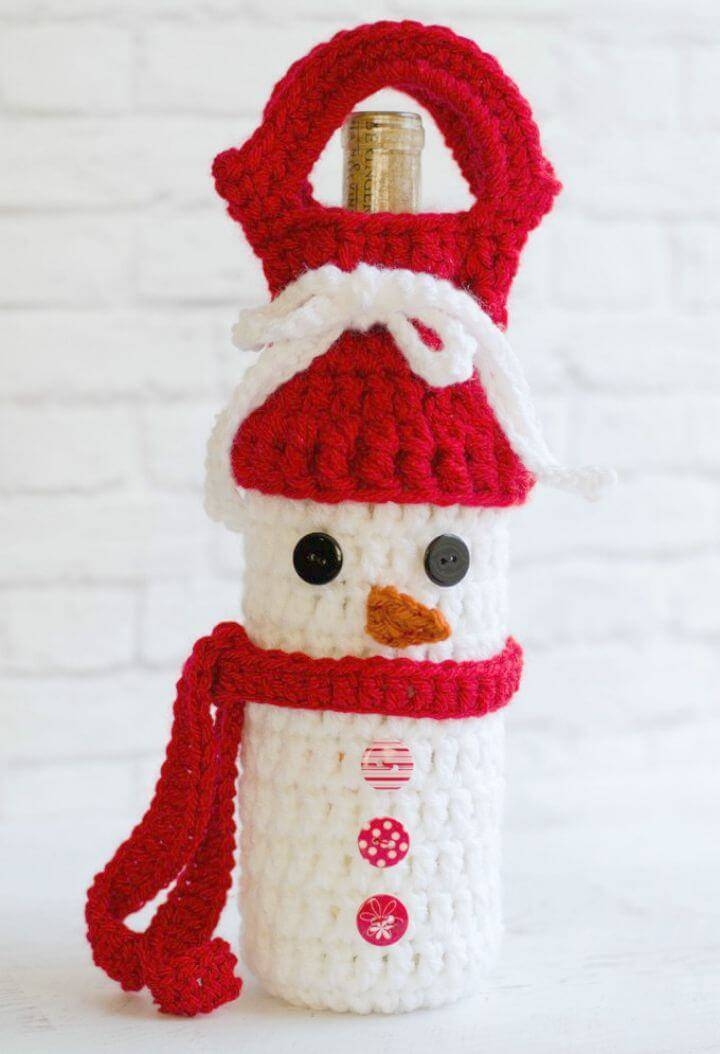 Easy Free Crochet Snowman Wine Cozy Pattern