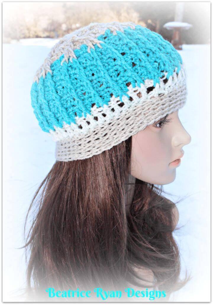 How To Free Crochet Snowy Mountain Beanie Pattern