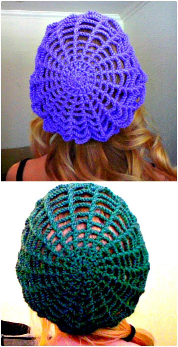Easy Free Crochet Spider Web Slouchy Hat Pattern