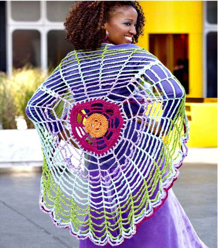 Easy Free Crochet Spiderweb Versatile Circle Wrap Pattern