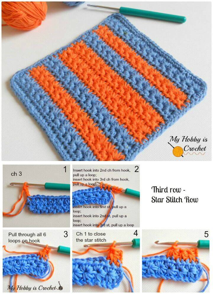 How To Free Crochet Star Stitch Baby Washcloth Or Dishcloth Pattern With Tutorial