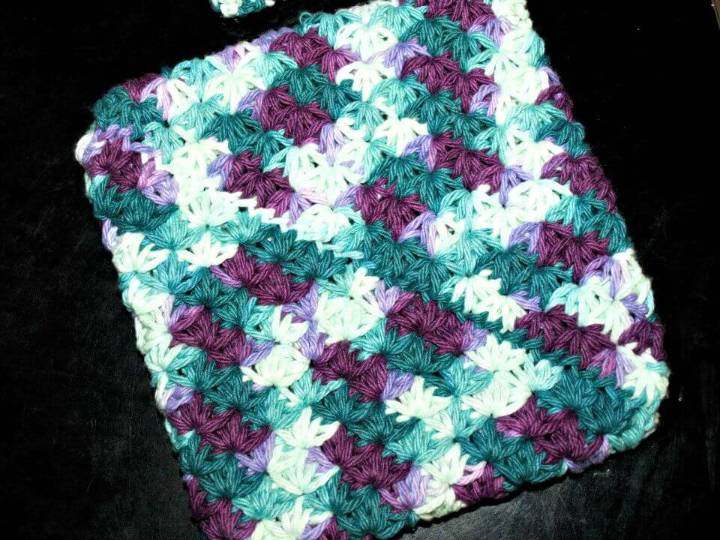 Easy Free Crochet Star Stitch Doubled Potholder Pattern