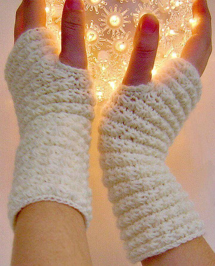 How To Free Crochet Star Stitch Hand Warmers Pattern