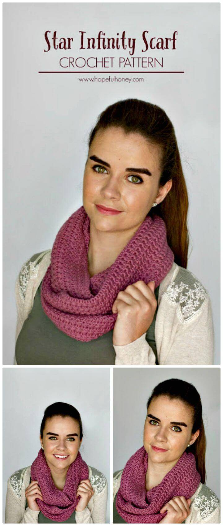 How To Free Crochet Star Stitch Infinity Scarf Pattern