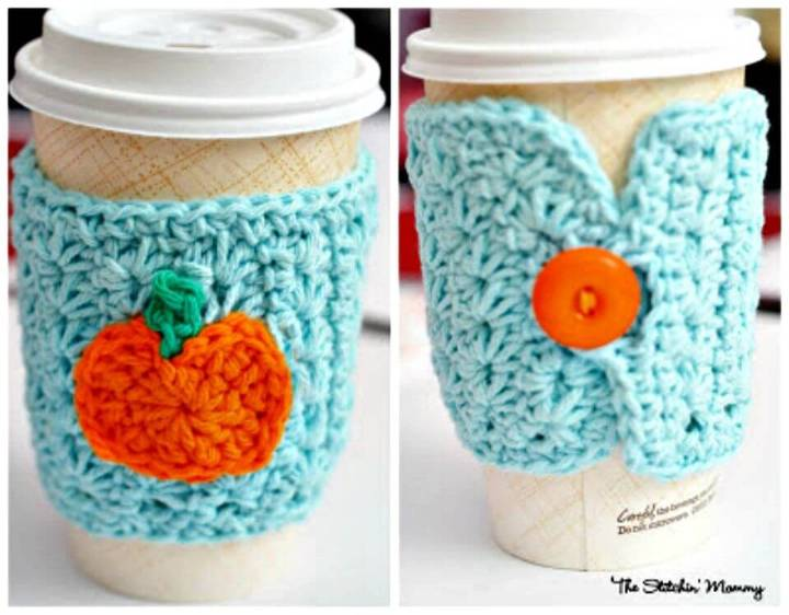 How To Easy Free Crochet Star Stitch Pumpkin Coffee Cozy Pattern