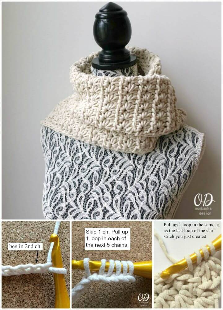 Easy Free Crochet Starry Night Scarf Using Star Stitch Pattern