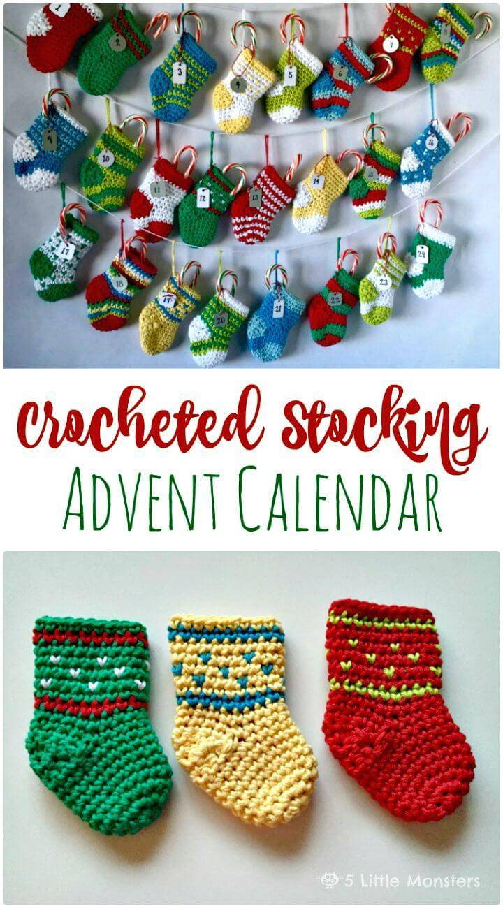 Easy Free Crochet Stocking Advent Calendar Pattern