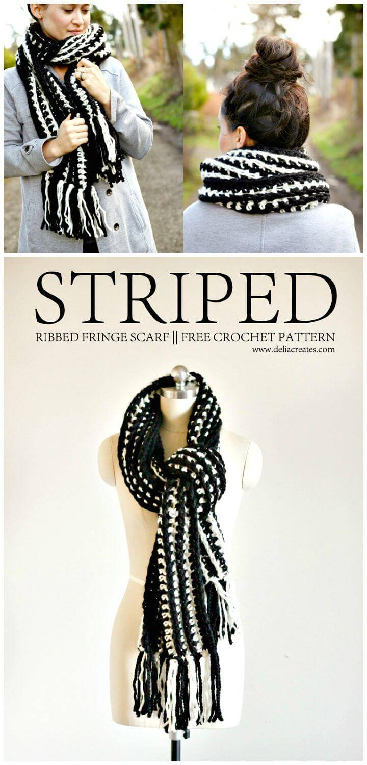 Easy Free Crochet Striped Ribbed Fringe Scarf Pattern