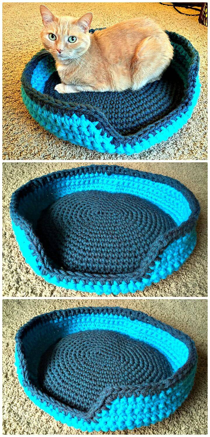 Easy Free Crochet Sturdy & Comfy Cat Bed Pattern