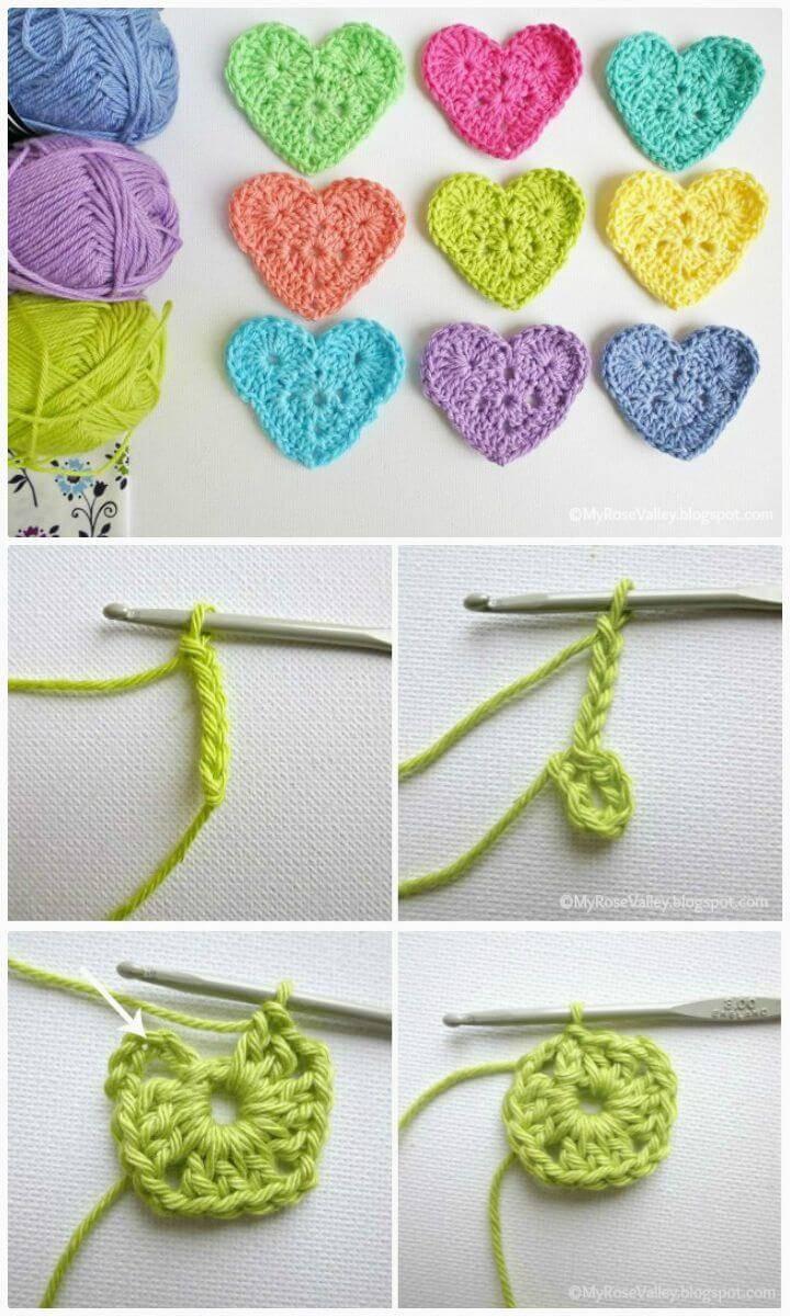 How To Free Crochet Sweet Heart Pattern