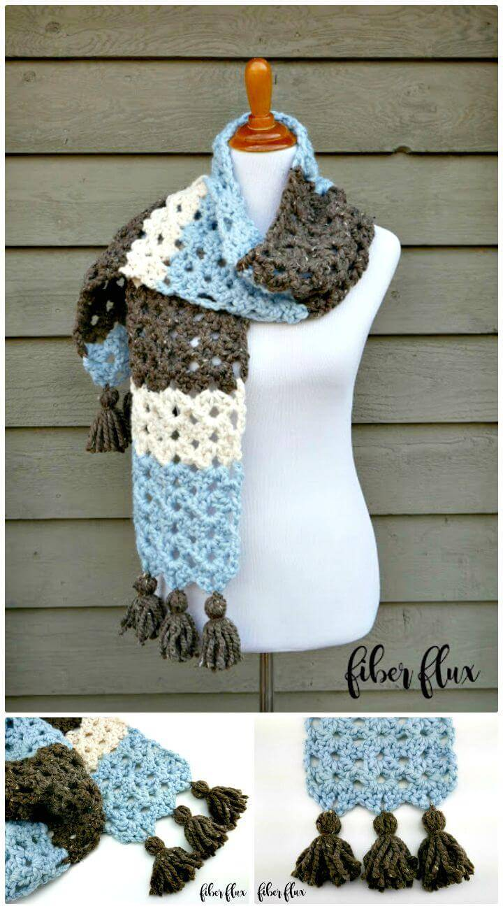 How To Crochet Tassel Winter Woods Scarf - Free Pattern