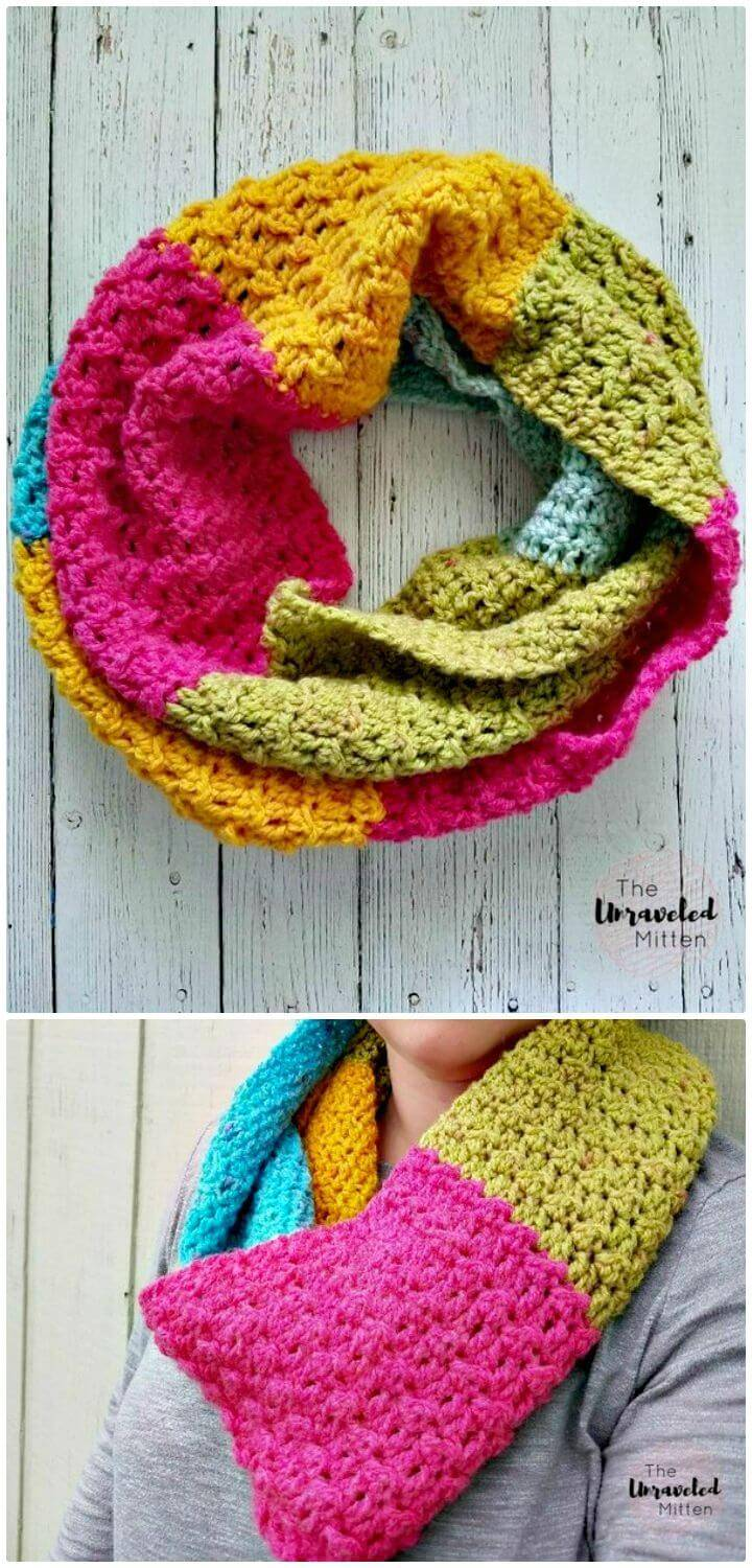 Easy Free Crochet Textured Infinity Scarf Pattern Using One Caron Cake