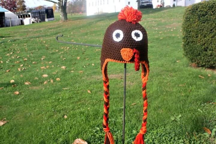 Free Crochet Thanksgiving Gobbler Earflap Hat Pattern