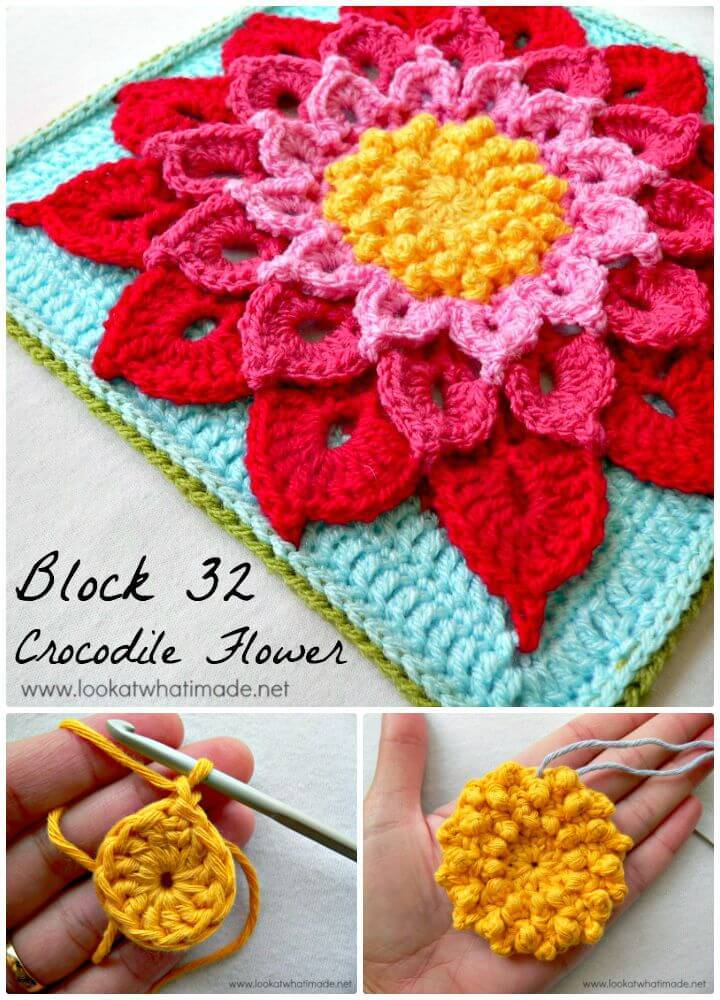 Easy Free Crochet The Crocodile Flower Pattern