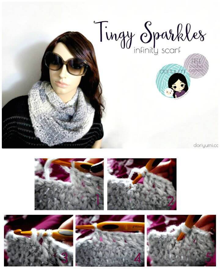 Free Crochet Tingy Sparkles Infinity Scarf Pattern