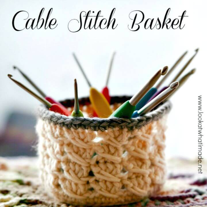 How To Crochet Tiny Cable Stitch Basket - Free Pattern