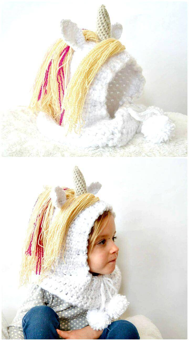Easy Free Crochet Toddler Magical Unicorn Hood Pattern