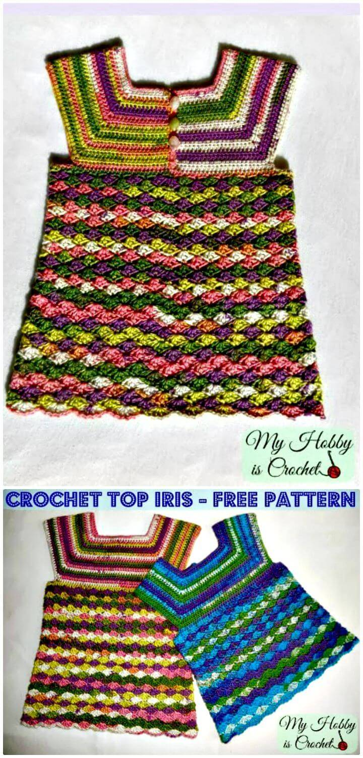 How To Free Crochet Top Iris Child Size 3-5 Years Pattern
