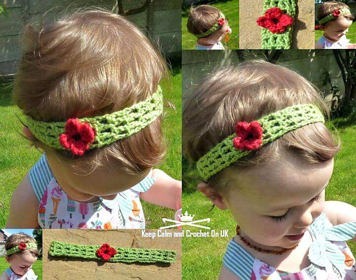 Easy Free Crochet Trellis Flower Baby Headband Pattern