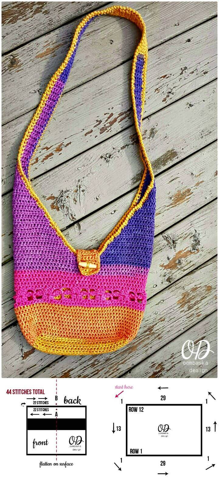 Easy Free Crochet Tropical Paradise Crossbody Bag - Caron Cakes Yarn