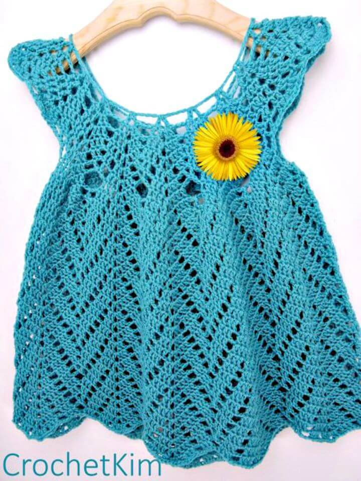 Free Crochet Tulip Chevrons Baby Dress Pattern