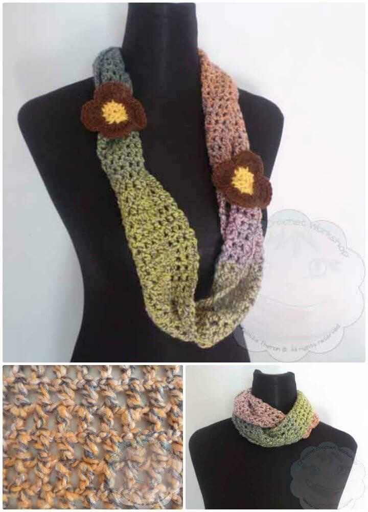 Free Crochet Twisty Mesh Infinity Scarf Pattern