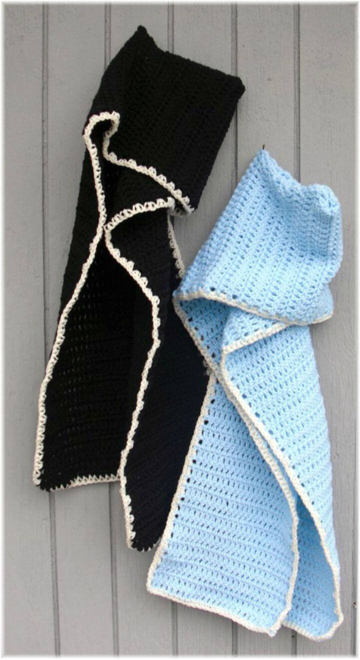 Easy Free Crochet Two Hood Scarves Pattern