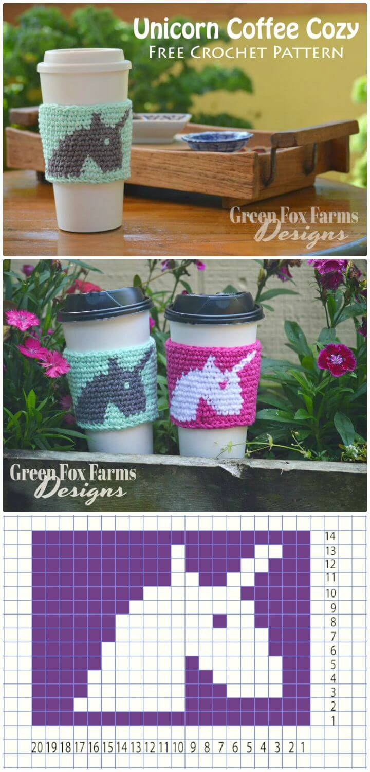 How To Free Crochet Unicorn Coffee Cozy Pattern