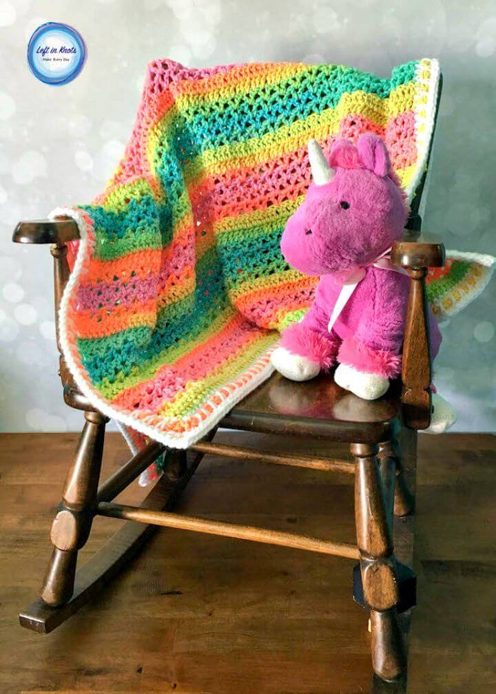 Crochet Unicorn Stripes Baby Blanket - Free Pattern