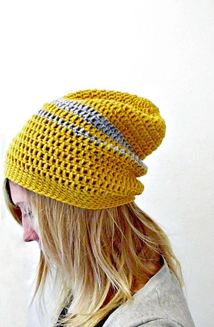 Easy Free Crochet Urban Slouchy Beanie Pattern