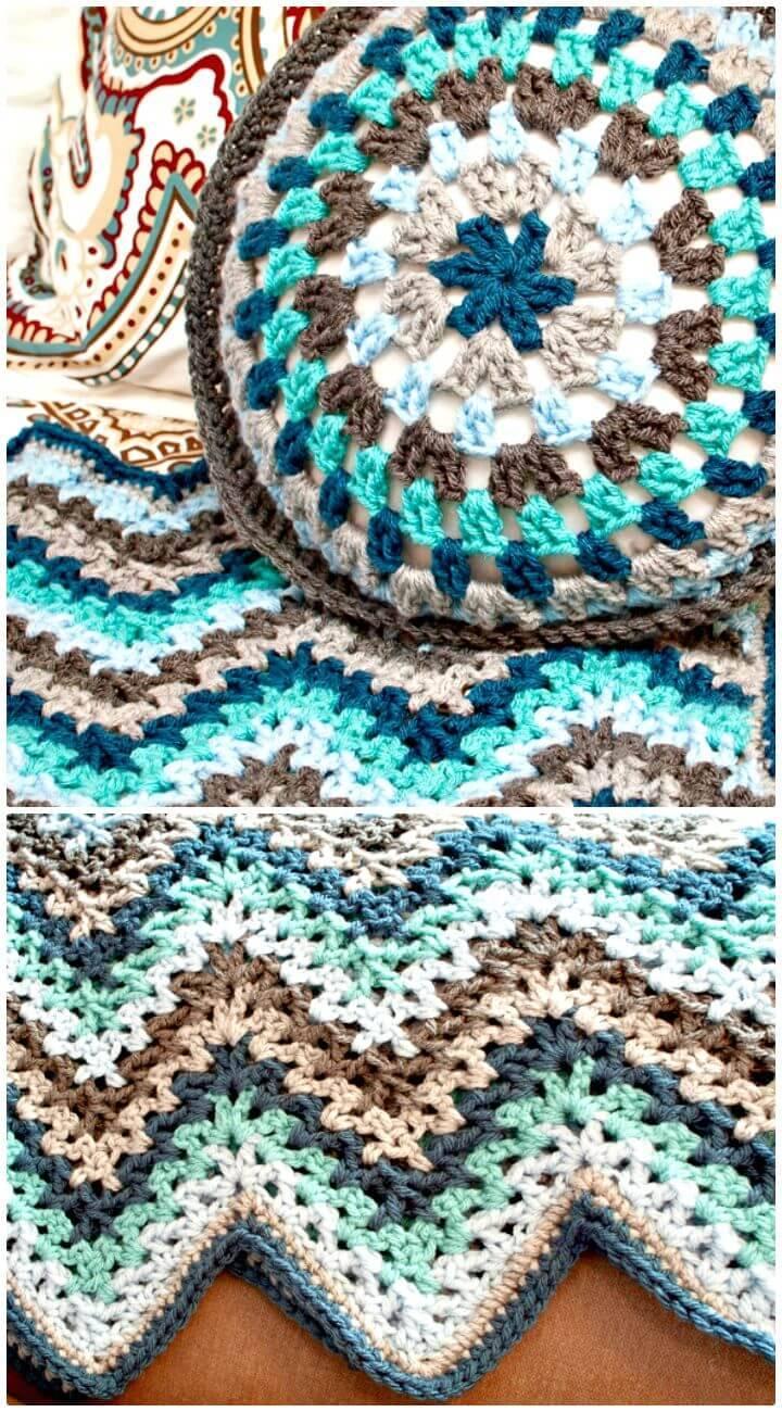 Easy Free Crochet V-Stitch Ripple Afghan Pattern