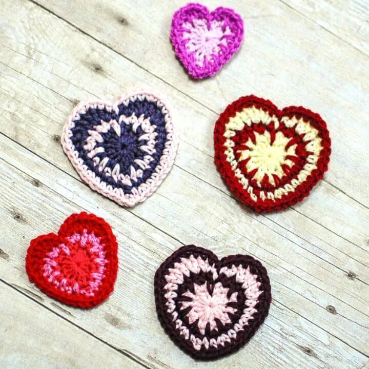 Easy Free Crochet Valentine's Spike Stitch Heart Pattern