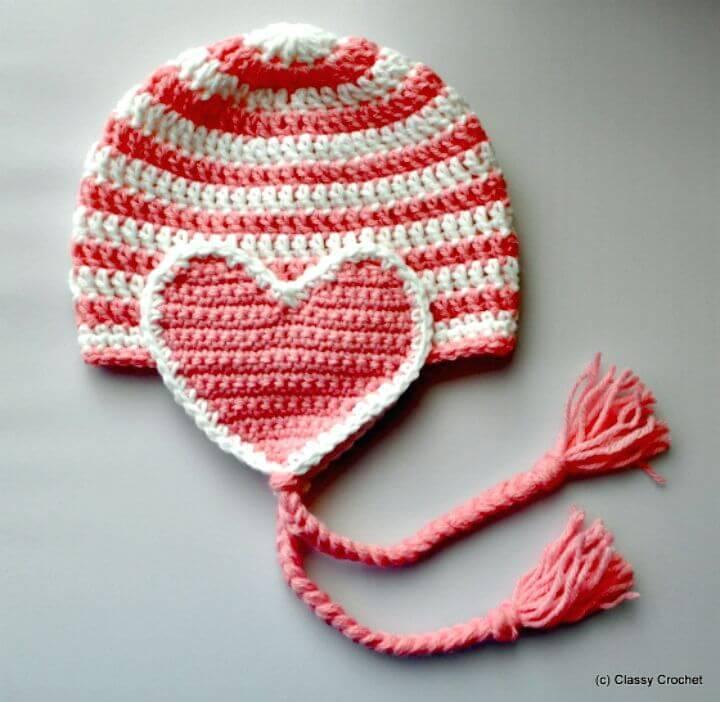 Easy Free Crochet Valentine Heart Earflap Hat Pattern