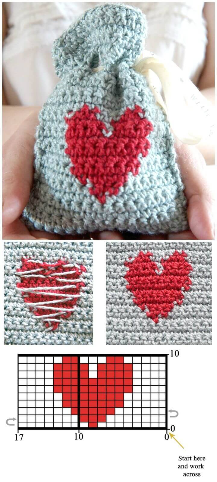 Easy Free Crochet Valentines Day Gift Bag Pattern