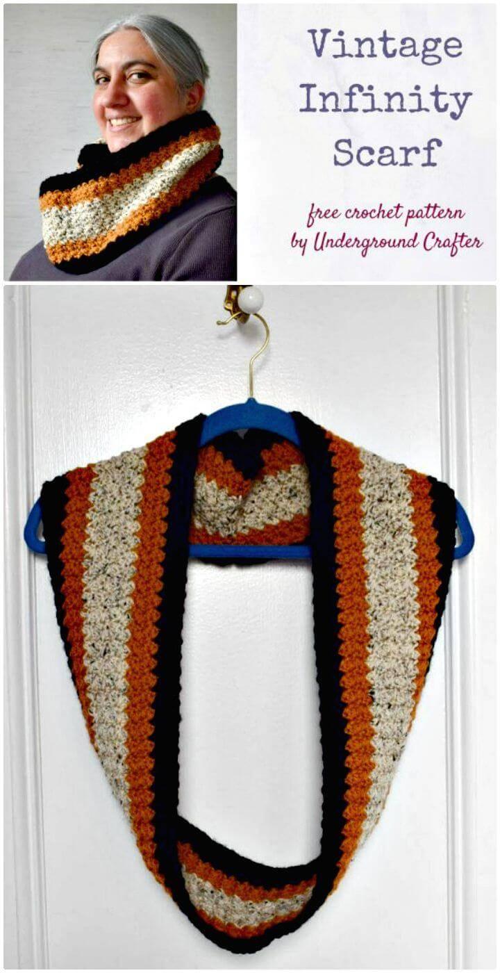Easy Free Crochet Vintage Infinity Scarf Pattern