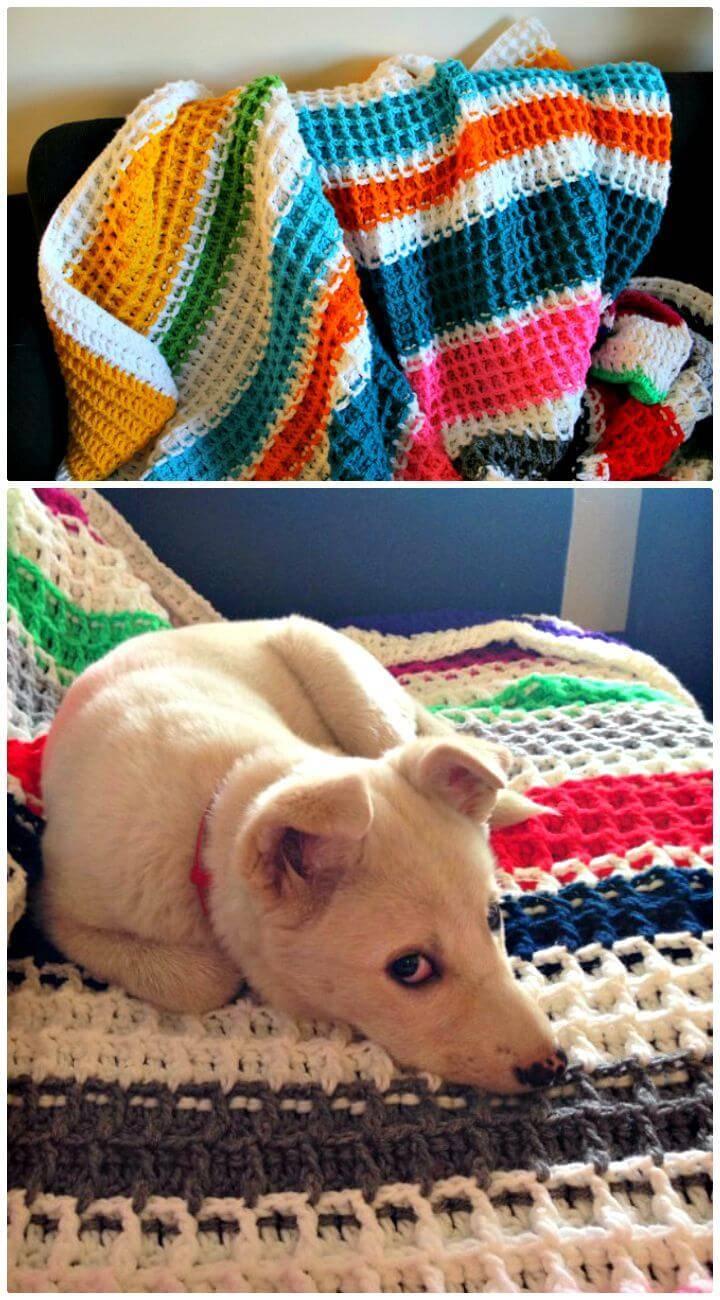 Crochet Waffle Blanket - Easy Free Pattern