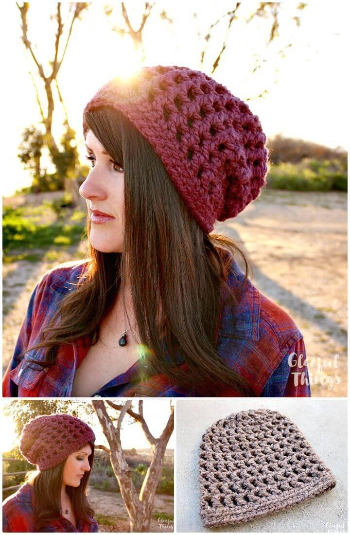 Easy Free Crochet Waffle Cone Slouchy Hat Pattern