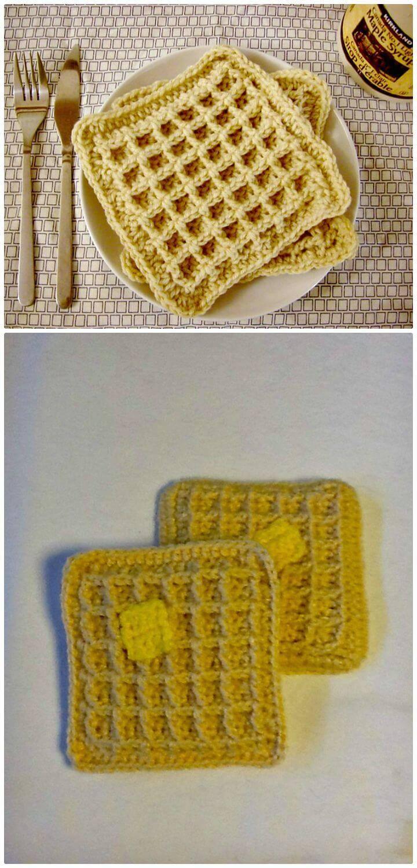 Easy Crochet Waffle Dishcloth Pattern