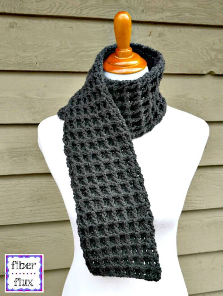 How to Crochet Waffle Stitch Scarf
