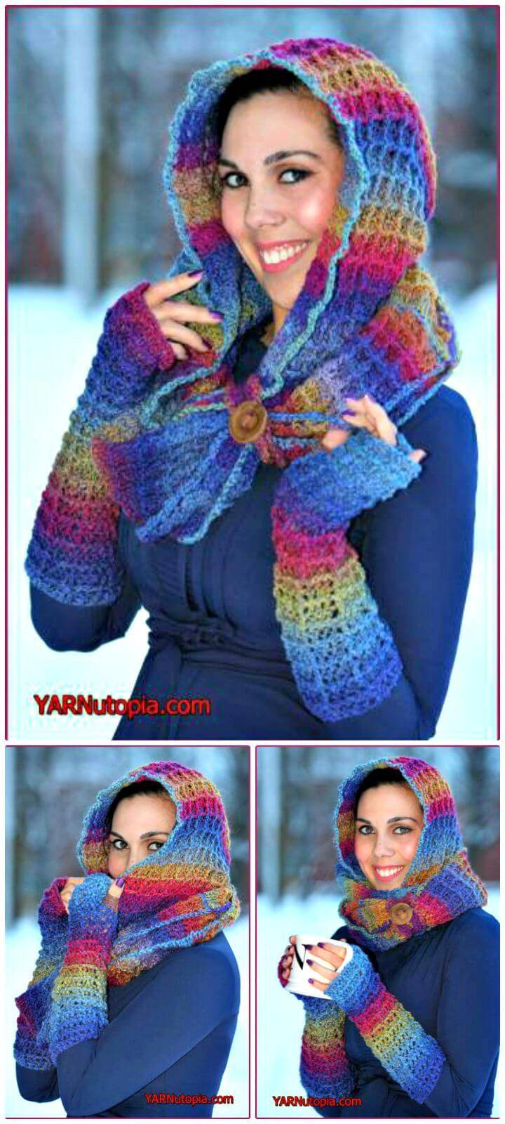 How To Free Crochet Warm Waffles Hooded Cowl Pattern