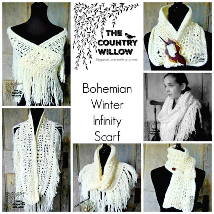 How To Free Crochet Winter Bohemian Infinity Scarf Pattern