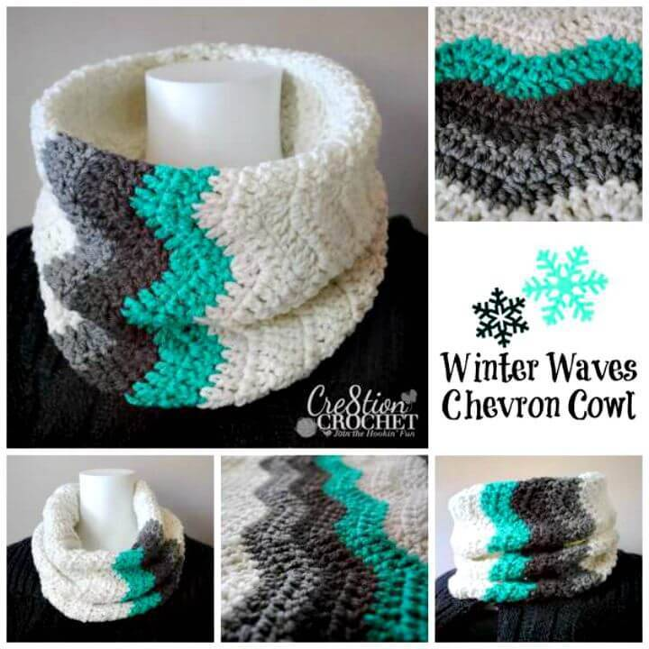 Easy Free Crochet Winter Waves Chevron Cowl Pattern