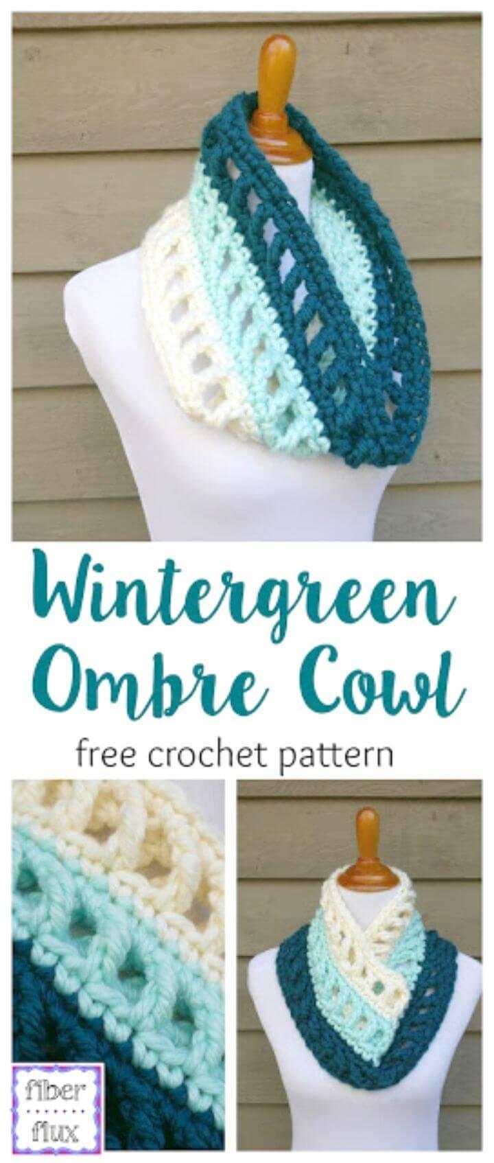 Crochet Wintergreen Ombre Cowl - Free Pattern