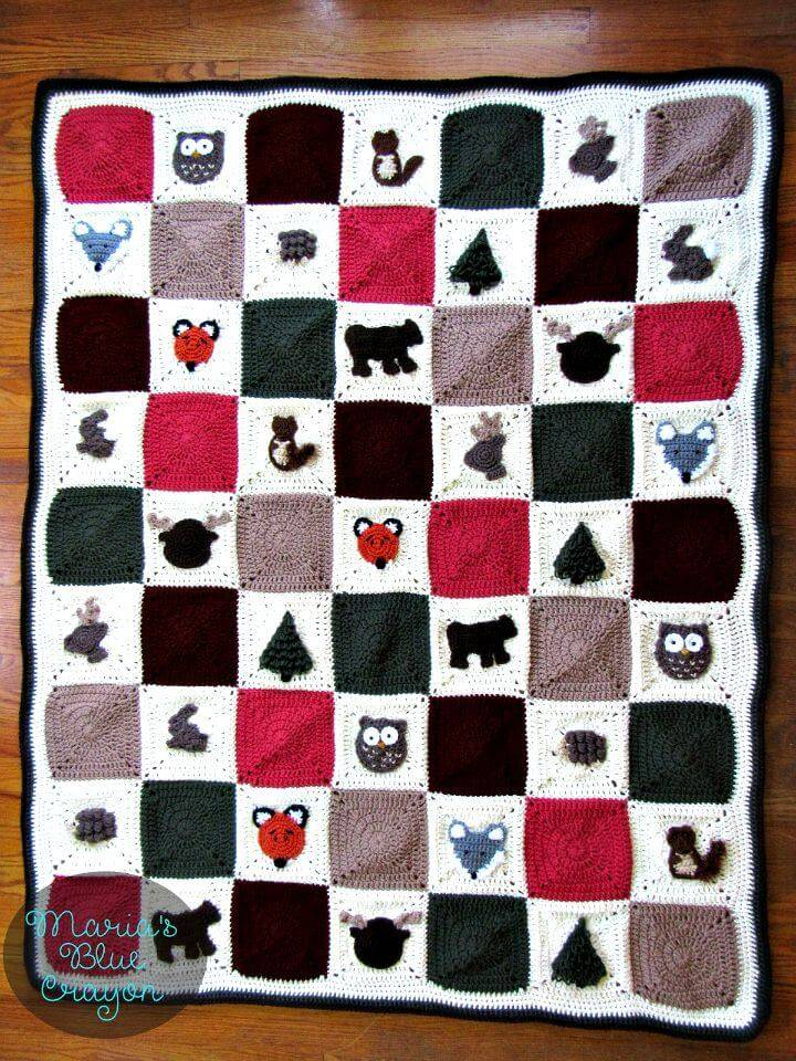 Free Crochet Woodland Granny Square Afghan Pattern