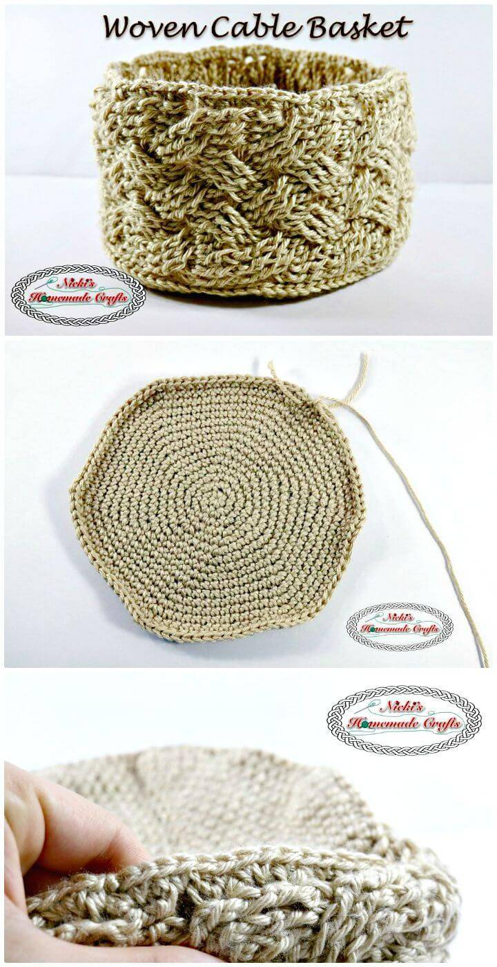How To Crochet Woven Cable Basket - Free Pattern