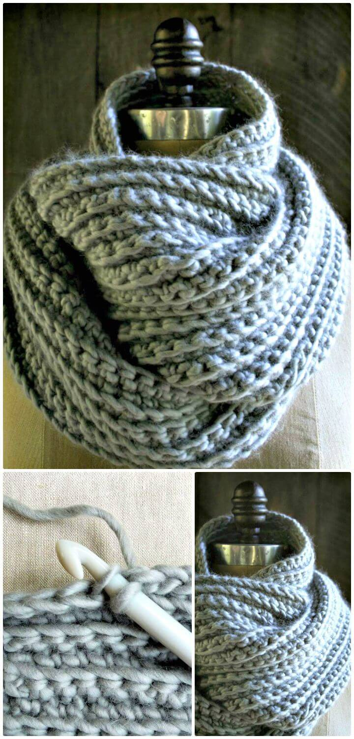 Free Crocheted Rib Cowl Pattern