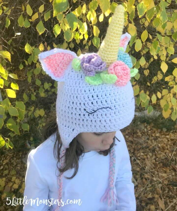 Crocheted Unicorn Hat with Flowers -Free Pattern