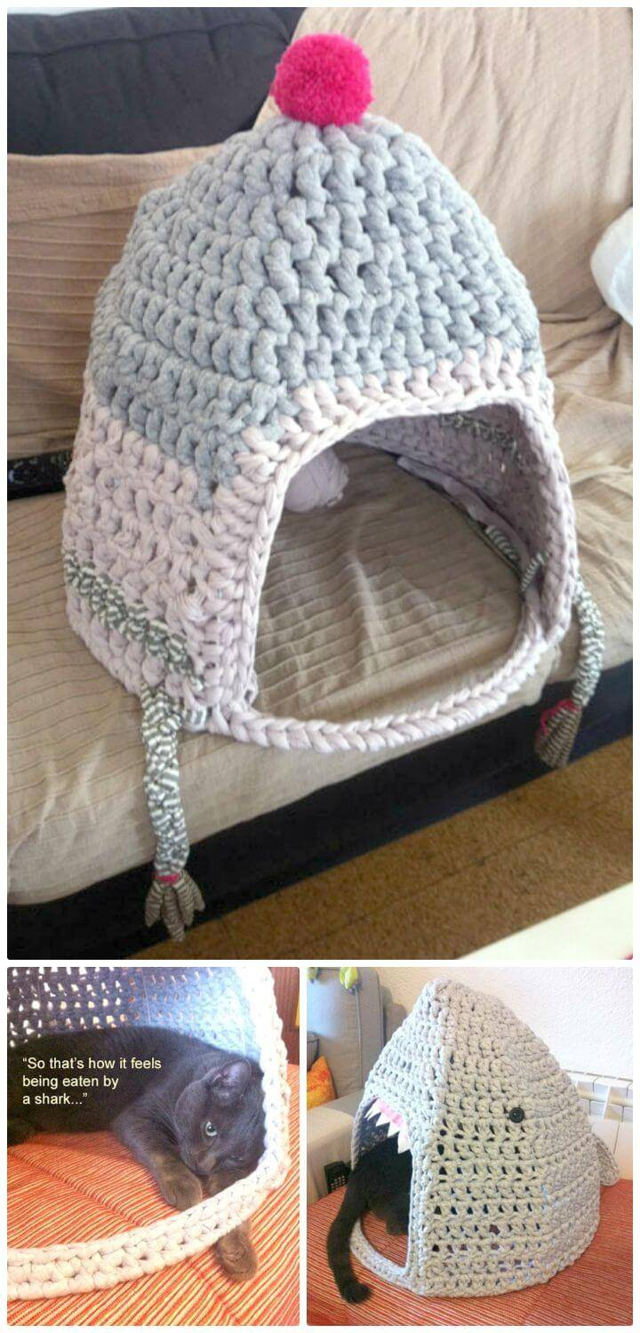 Easy Free Crochet Cat Home Makeover From Cat To Shark Pattern
