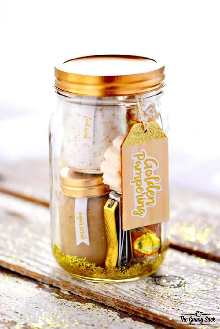 Easy DIY Golden Pampering Mason Jar Gift