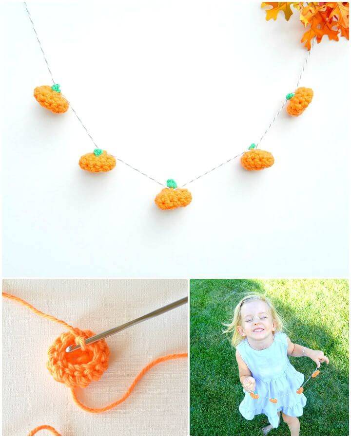 Easy Free Little Crochet Pumpkin And Garland Pattern